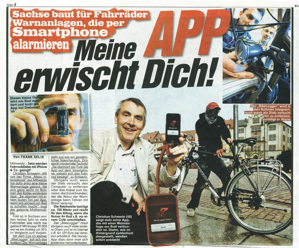 Fahrraddieb! Meine App erwischt dich! Christian Schwerin (48) zeigt stolz seine App, die mit einer Warnanlage am Rad verbunden ist. Diebe, wie im Hintergrund symbolisch dargestellt, werden sofort entdeckt