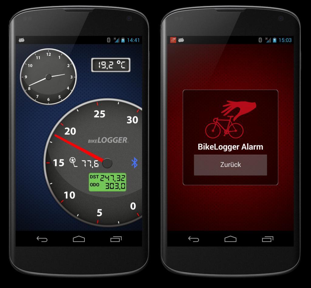 Tachoanzeige und Alarmmodus der BikeLogger Android-App